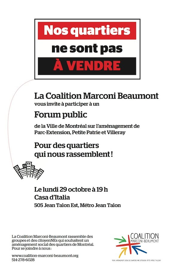 Invitation au forum public le 29 octobre, 2012 à 19h au 505 Jean-Talon E.